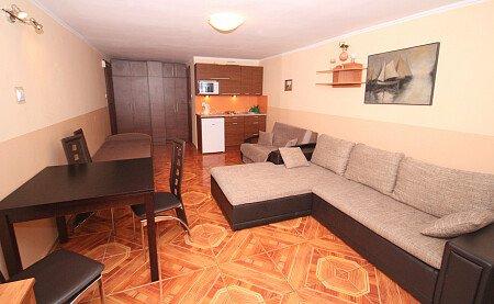 Pokój nr 1 z aneksem kuchennym w pełni wyposażonym dla 5 osób z łazienką. Na parterze z tarasem.