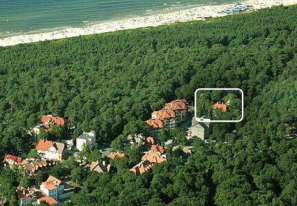 Widok domu z lotu ptaka, u góry zdjęcia plaża i morze
