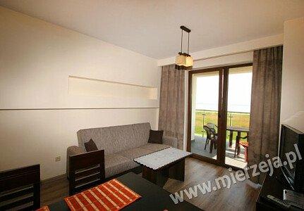 Apartament nr 5 - salon z przepięknym widokiem z przestronnego tarasu na Zalew Wiślany.