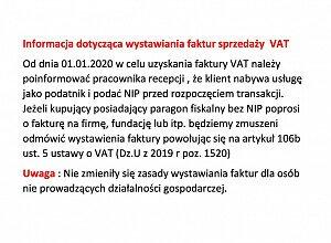INFORMACJA DOTYCZĄCA SPRZEDAŻY FAKTUR VAT